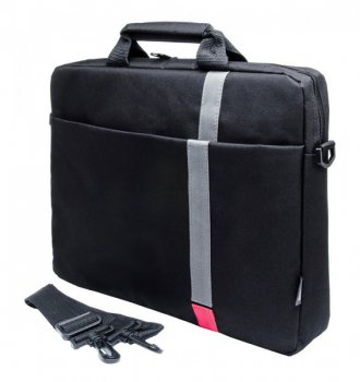"Сумка для ноутбука PC PET PCP-1001RD 15.6"" Polyester HQ Classic Toplader Front compartment Red Patch Черный"