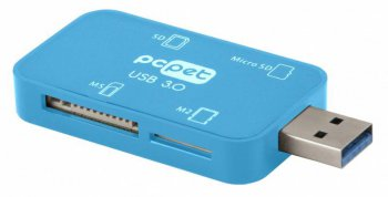 Картридер PC Pet BW-C308A blue голубой (all-in-1) USB3.0 ext