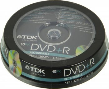 Диск DVD+R TDK 4.7Gb 16x Cake Box (10шт) (t19442) 47CBED10