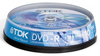 Диск DVD-R TDK 4,7Gb 16x Cake Box (10шт)