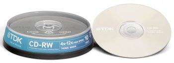 Диск CD-RW TDK CDRW 700MB 8x-12x Cake Box (10шт) (t19512) W700HCBA10-BC