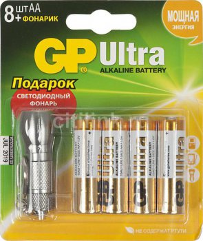 Батарейка GP 15AU/FT-CR8 Ultra AA (1шт) (8) + фонарик