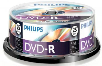 Диск DVD-R Philips 4.7Gb 16x Cake Box (25шт) (5749)