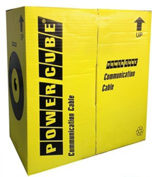 Кабель UTP Power Cube кат.5e МЕДЬ однож. 4х2х0.48 мм, 305 м pullbox, серый (FLUKE TEST) PC-UPC-5004E-SO