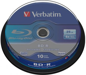 Диск BD-R Verbatim 25Gb 6x Cake Box (10шт) Printable Light Scribe DataLife (43804)