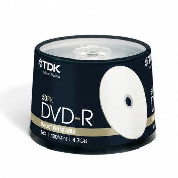 Диск DVD-R TDK 4.7Gb 16x Cake Box (50шт) Printable (t19914) 47PWCBED50