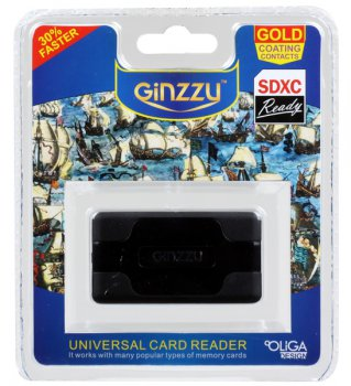 Картридер Ginzzu GR-416B черный (24-in-1) USB2.0 ext