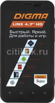 "Смартфон Digma Linx 4.7 PSI474S черный моноблок 3G 4.7"" And WiFi BT GPS GSM900/1800 GSM1900 TouchSc HF MP3 8Gb 12Mpix VidConf FM A-GPS mSDHC max32Gb E"