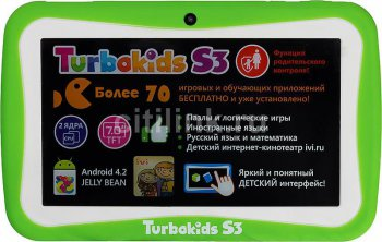 "Планшетный компьютер Turbo TurboKids S3 RK3026 (1.0) 2C A9/RAM1Gb/ROM8Gb/7"" TFT 1024*600/WiFi/2Mp/0.3Mp/And4.2/green/Touch/3300mAh"