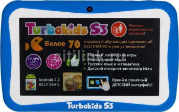 "Планшетный компьютер Turbo TurboKids S3 RK3026 (1.0) 2C A9/RAM1Gb/ROM8Gb/7"" TFT 1024*600/WiFi/And4.2/blue"
