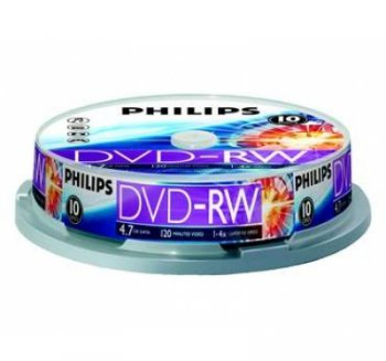 Диск DVD-RW 4.7Gb Philips 4х 10 шт Cake Box