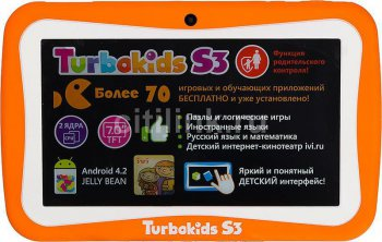 "Планшетный компьютер Turbo TurboKids S3 RK3026 (1.0) 2C A9/RAM1Gb/ROM8Gb/7"" TFT 1024*600/WiFi/2Mp/0.3Mp/And4.2/orange/Touch/3300mAh"