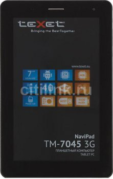 "Планшетный компьютер Texet NaviPad TМ- 3G -7045 DC MT8377 (1.2) 2C A9/RAM1Gb/ROM4Gb/7"" TFT 1024*600/3G/WiFi/BT/And4.1.2/black/graphite"