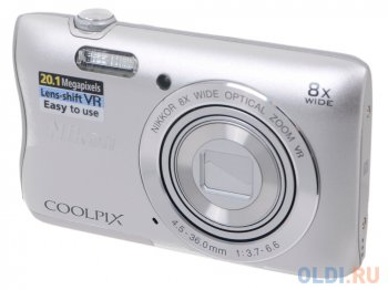 "Nikon Coolpix S3700 Silver + Case + 8Gb <20.1Mp, 8x zoom, 2.6"", SDXC, 720P>"