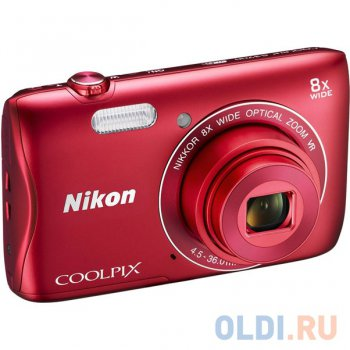 "Nikon Coolpix S3700 Red + Case + 8Gb <20.1Mp, 8x zoom, 2.6"", SDXC, 720P>"