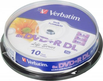 Диск DVD+R DL Verbatim 8.5Gb 8x Cake Box (10шт) Double Layer (43818)