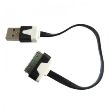 Кабель Dialog HC-A6201 Apple 30pin (M) --> USB A (M) 15см, плоский