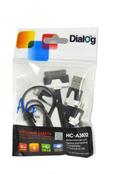 Кабель зарядный Dialog HC-A3802 Apple 8pin/30pin/microUSB--> USB A (M) 25см