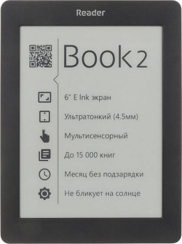 "Электронная книга Reader Book 2 6"" E-ink Pearl 800x600 Touch Screen 1Ghz 256Mb/4Gb черный"