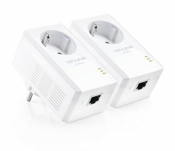 Адаптер TP-Link (TL-PA2010PKIT) AV200 Powerline Adapter with AC Pass Through Starter Kit, Ultra Compact Size, 200Mbps Powerline Datarate, 1 Fast Ether