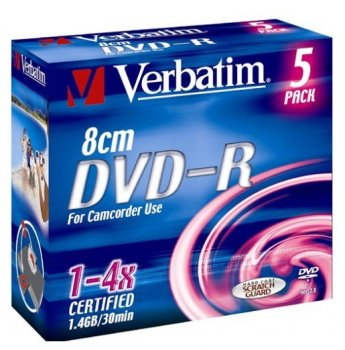 Диск DVD-RW Verbatim 1.4Gb 4x Jewel case (1шт) (43510)