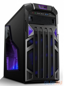Корпус MAXcase PN523 Blue, mATX, без БП, Gaming, 1x USB 3.0, 2x USB 2.0, 0.6mm, window, 1x12 LED fan, 1x8 LED fan