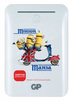 Портативный аккумулятор GP Portable PowerBank GL301WE Minions Scooter Li-Pol 10400mAh 2.1A+1A белый 2xUSB