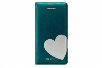 Чехол (флип-кейс) Samsung для Samsung Galaxy S5 Flip Wallet Moschino Heart зеленый (EF-WG900RGEGRU)