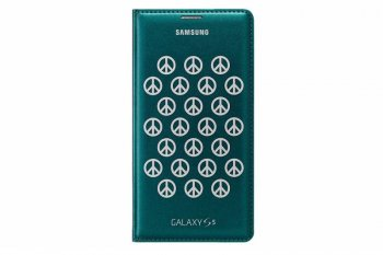 Чехол (флип-кейс) Samsung для Samsung Galaxy S5 Flip Wallet Moschino Peace зеленый (EF-WG900RBEGRU)