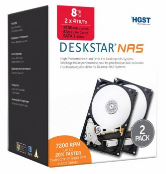 Жесткий диск HGST SATA-III 4 Тб H3IKNAS40003272SE2PK NAS Kit 2 (7200rpm) 64Mb 3.5""