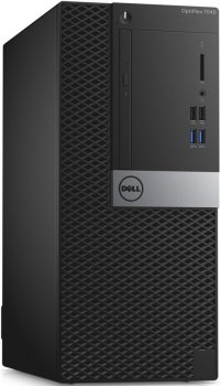 Системный блок Dell Optiplex 7040 MT i7 6700 (3.2)/8Gb/1Tb 7.2k/R7 350X 4Gb/DVDRW/Windows 7 Professional 64 +W10Pro/клавиатура/мышь/черный/серебристый