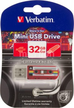 Накопитель USB Verbatim 32Gb Mini Cassette Edition 49392 USB красный