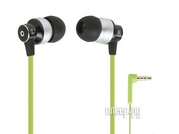 Наушники с микрофоном Monoprice Hi-Fi Reflective Sound Technology Earphones 12238 Green-Silver