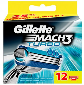 Сменная кассета Gillette Mach3 Turbo для бритв (упак.:12шт)