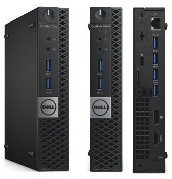 Системный блок Dell Optiplex 7040 Micro i5 6500T (2.5)/8Gb/SSD256Gb/HDG530/Linux/GbitEth/WiFi/BT/черный/серебристый
