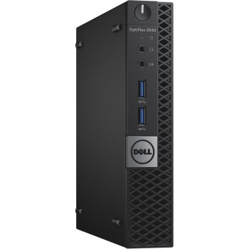 Системный блок Dell Optiplex 3040 Micro i3 6100T (3.2)/4Gb/SSD128Gb/HDG530/Windows 7 Professional 64 +W10Pro/Eth/клавиатура/мышь/черный/серебристый
