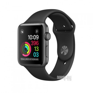 Часы многофункциональные APPLE Watch 38mm Space Grey Aluminium Case with Black Sport Band MP022RU/A