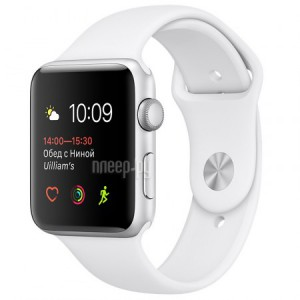 Часы многофункциональные APPLE Watch Series 2 38mm Silver with White Sport Band MNNW2RU/A