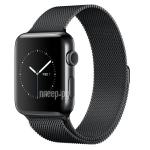 Часы многофункциональные APPLE Watch Series 2 38mm Black Space with Milanese Mesh Black Space Band MNPE2RU/A