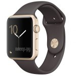 Часы многофункциональные APPLE Watch Series 2 42mm Gold with Dark Cocoa Sport Band MNPN2RU/A