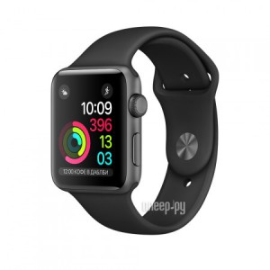 Часы многофункциональные APPLE Watch Series 2 38mm Space Grey Aluminium Case with Black Sport Band MP0D2RU/A