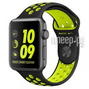 Часы многофункциональные APPLE Watch Nike+ 38mm Space Grey Aluminium Case with Black-Volt Nike Sport Band MP082RU/A