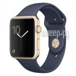 Часы многофункциональные APPLE Watch Series 2 42mm Gold Aluminium Case with Midnight Blue Sport Band MQ152RU/A