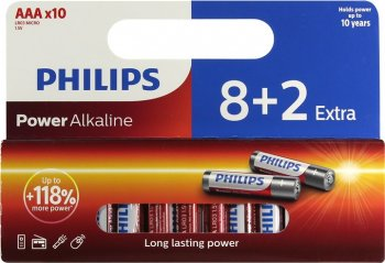 "Батарейка PHILIPS Power Alkaline LR03P10WP/10 Size""AAA"", 1.5V, щелочной (alkaline) <уп. 10 шт>"