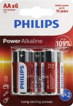 "Батарейка PHILIPS Power Alkaline LR6P6BP/10 Size""AA"", 1.5V, щелочной (alkaline) <уп. 6 шт>"