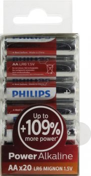 "Батарейка PHILIPS Power Alkaline LR6P20T/10 Size""AA"", 1.5V, щелочной (alkaline) <уп. 20 шт>"