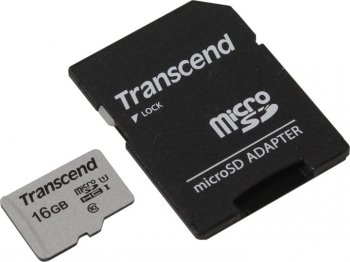 Карта памяти microSDHC 16Gb Class10 Transcend TS16GUSD300S-A + adapter