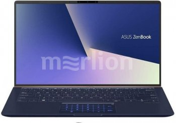 "Ноутбук Asus Zenbook UX433FN-A5021T Core i7 8565U/16Gb/SSD512Gb/nVidia GeForce Mx150 2Gb/14""/FHD (1920x1080)/Windows 10/dk.blue/WiFi/BT/Cam/Bag"