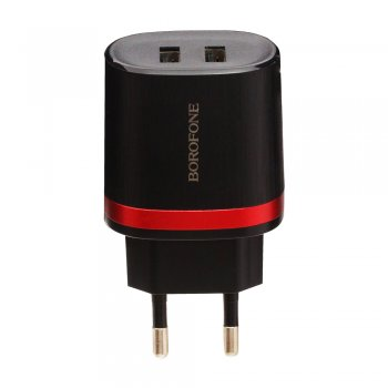 Зарядка USB-устройств 6957531085348 BOROFONE BA7A FlashPlug double port charger(EU) в комлекте с кабелем lightning, черный
