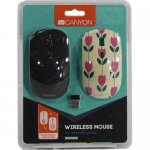 Мышь беспроводная CANYON Wireless Optical Mouse <CND-CMSW400T Black> (RTL) USB 4btn+Roll